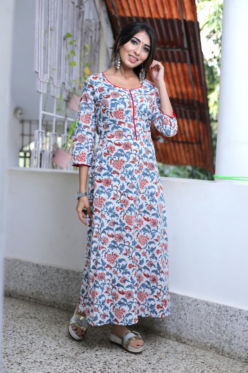WHITE MULTI JAAL BUTTA DRESS