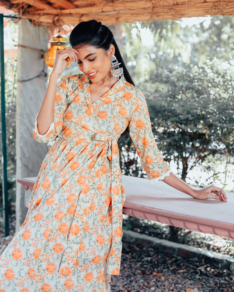Flora Orange Kurta Set