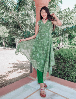 Tea Green Fist Cut Kurta Set