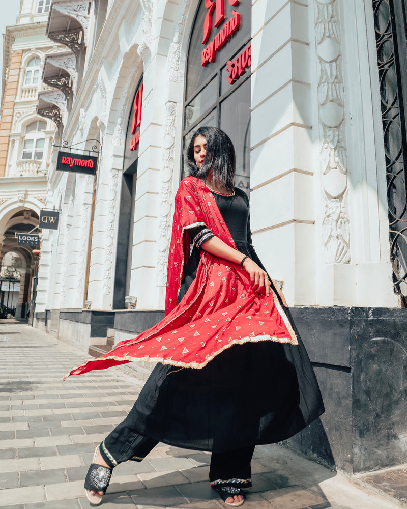 Midnight black suit set with beautiful red dupatta