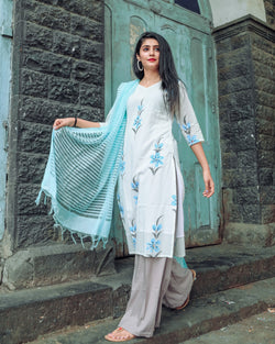 Exclusive white handpainted kurta set With pastel shaded dupatta
