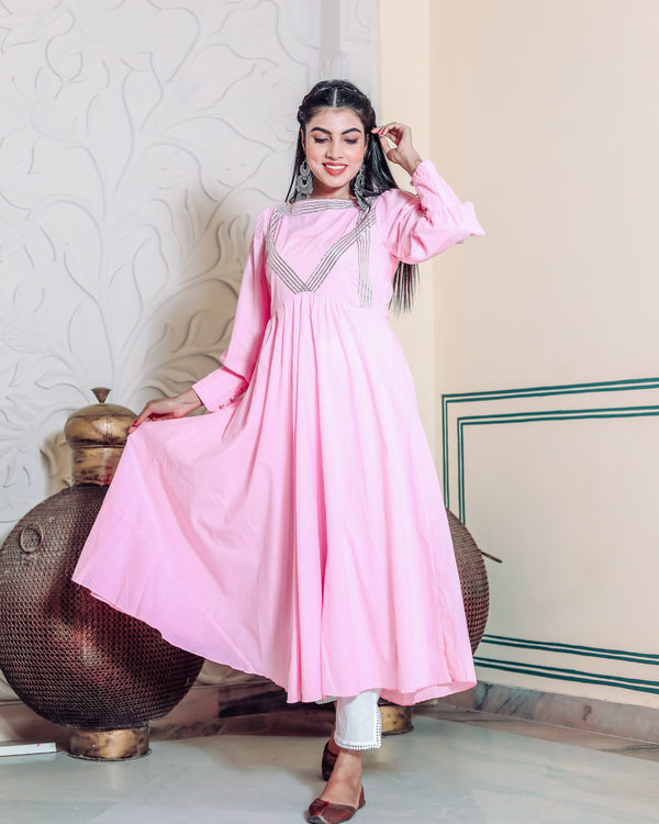 French Rose Pink Kurta Set