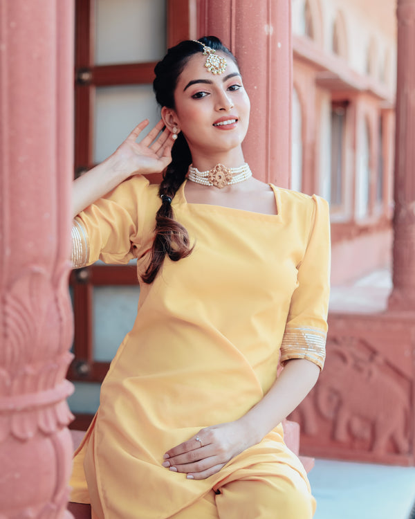 Gold Yellow Patiala Suit Set