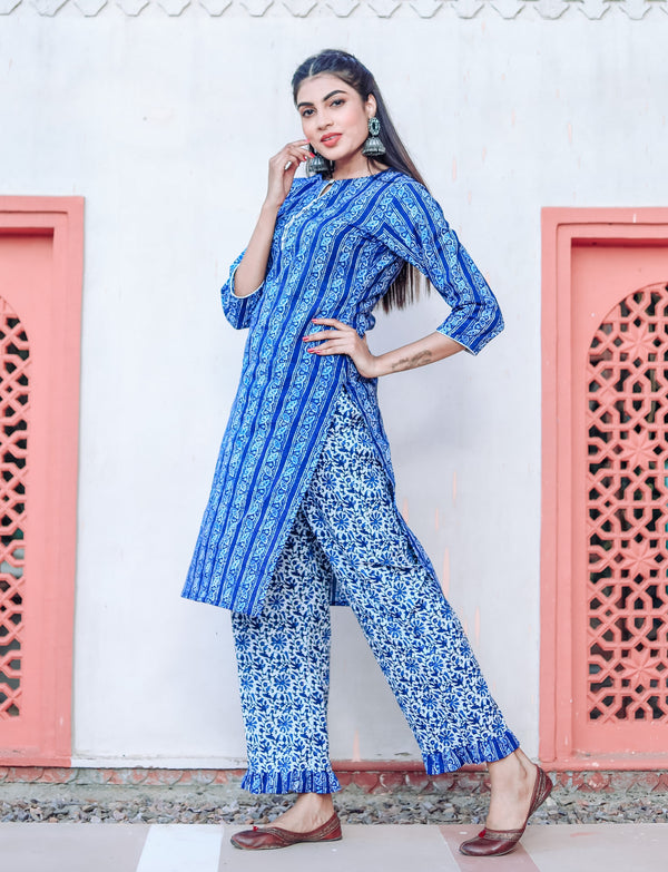 Space Blue Handblock Kurta Set