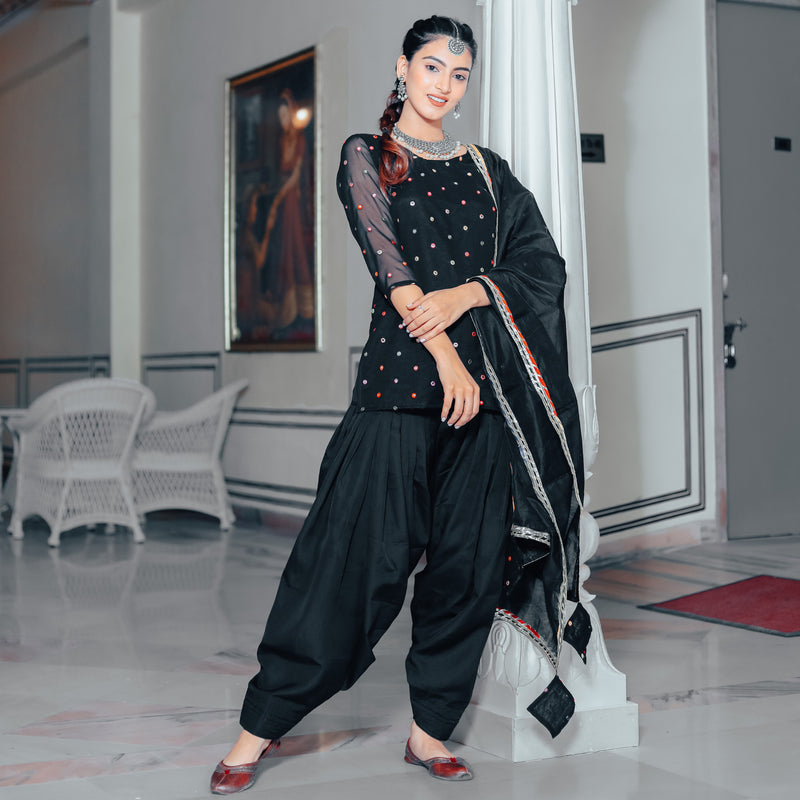 Stone black patiala  suit set