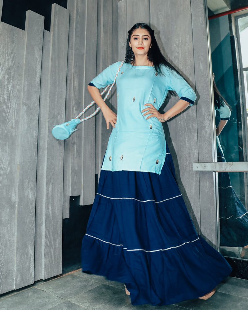Watery Blue Hand Embroidered Skirt Dress with Potli