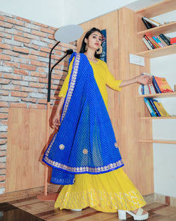 Bright Yellow Gotta Dress With Gorgeous Lehariya Dupatta