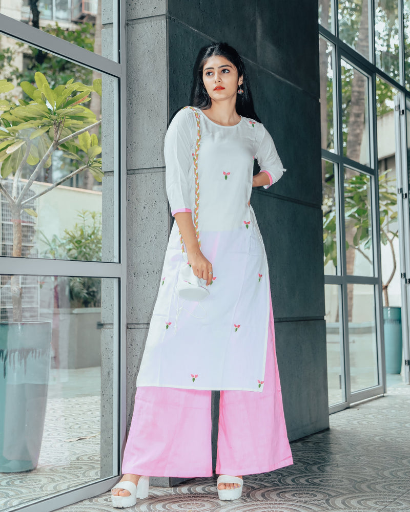 White Blush Hand Embroidered Cotton Suit With Potli