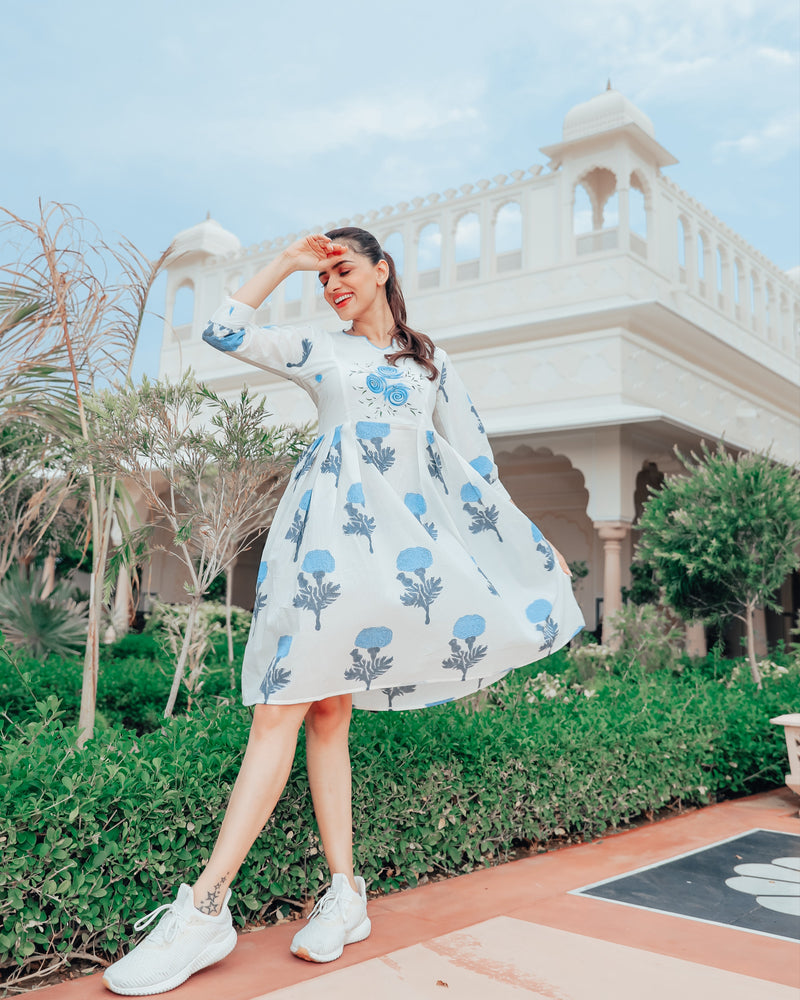 Frost Blue Floral Block Print Dress