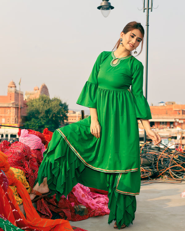 Fresh Green High low kurta set