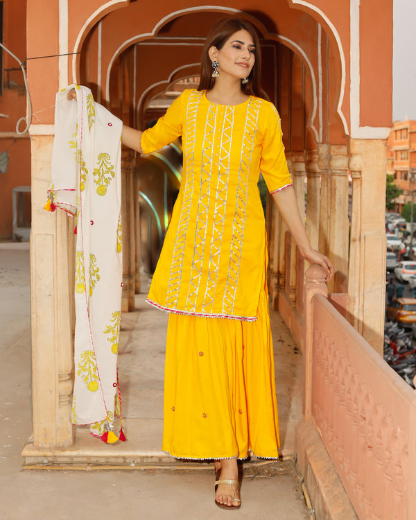 Kesar Yellow Handwork suit set