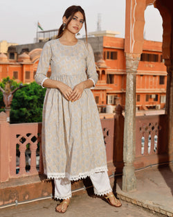 Fog gray hand block kurta set