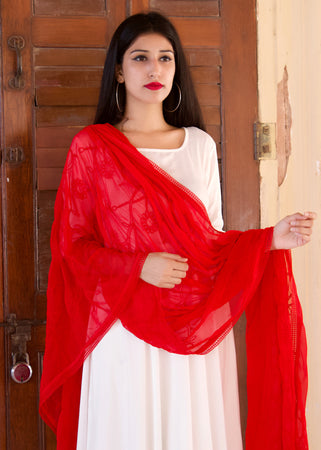 Beautiful White Kurta Set WithExclusive Kashmiri Work Dupatta