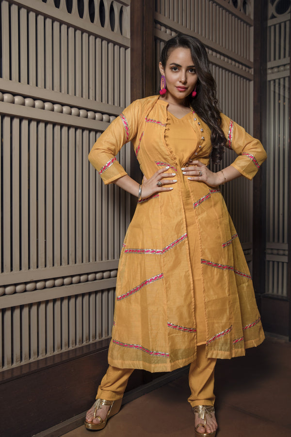 Fire yellow chanderi suit