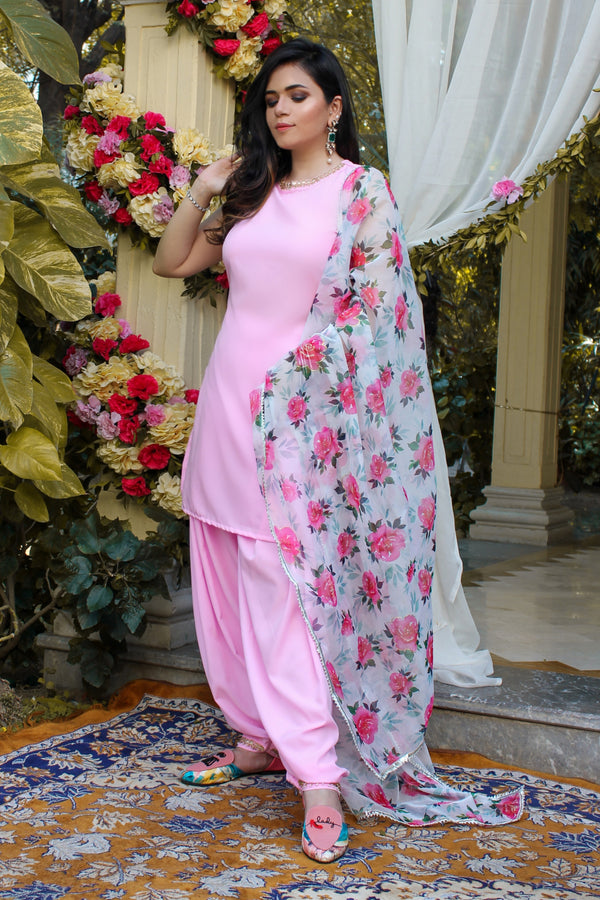 Blush Pink High Neck Patiyala Suit Set