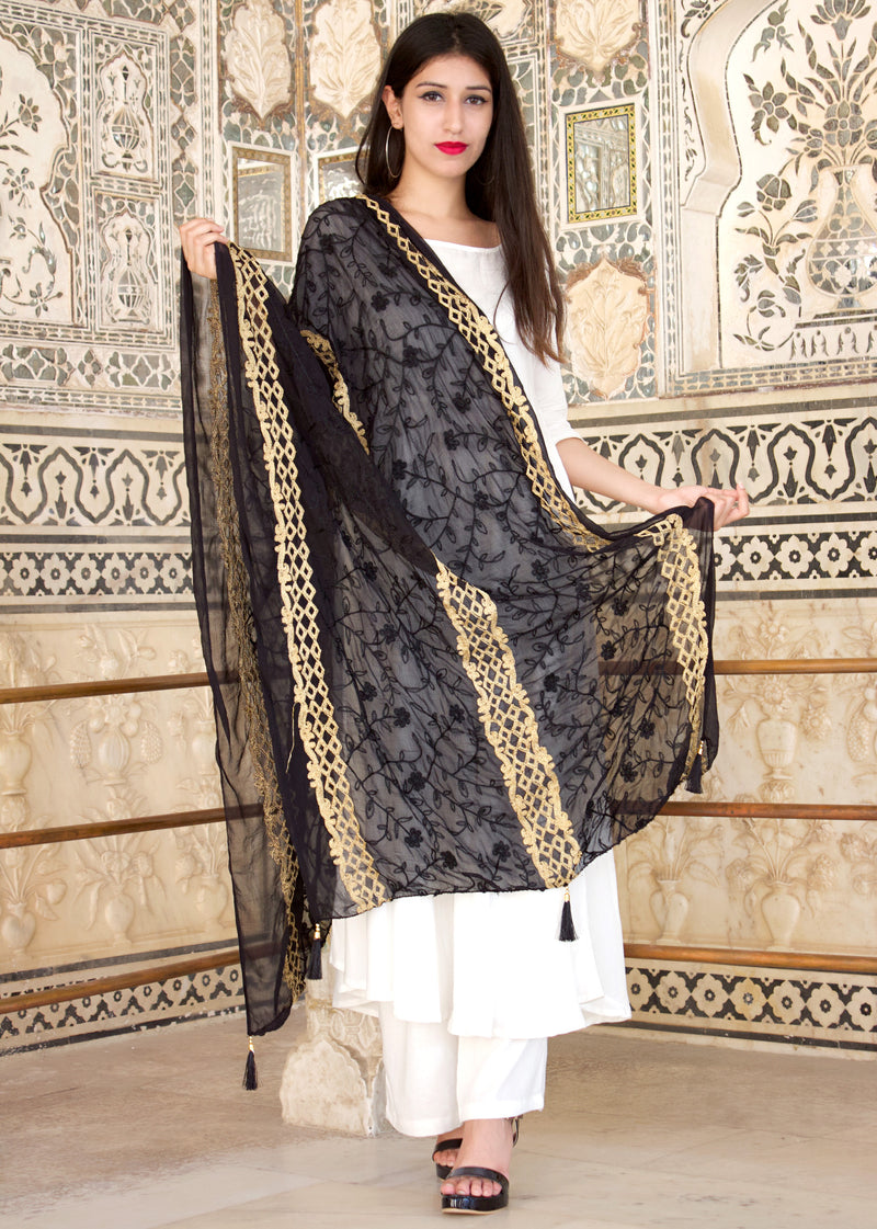 A Beautiful White Kurta Set Paired With Beautiful Karanchi Work Dupatta