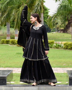 Black Gotta work Suit Set With Heavy Gotta Dupatta