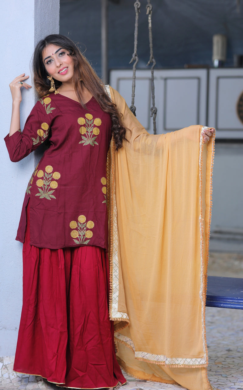 Berry Red Mughal Butta Suit Set