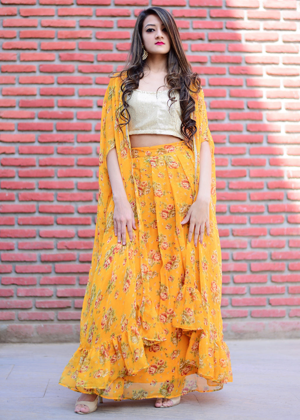 Exclusive Flared yellow dress