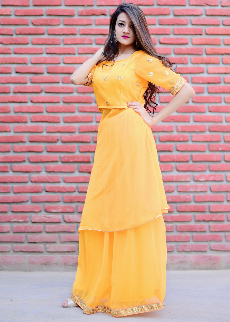 Flared yellow dress with gotta work