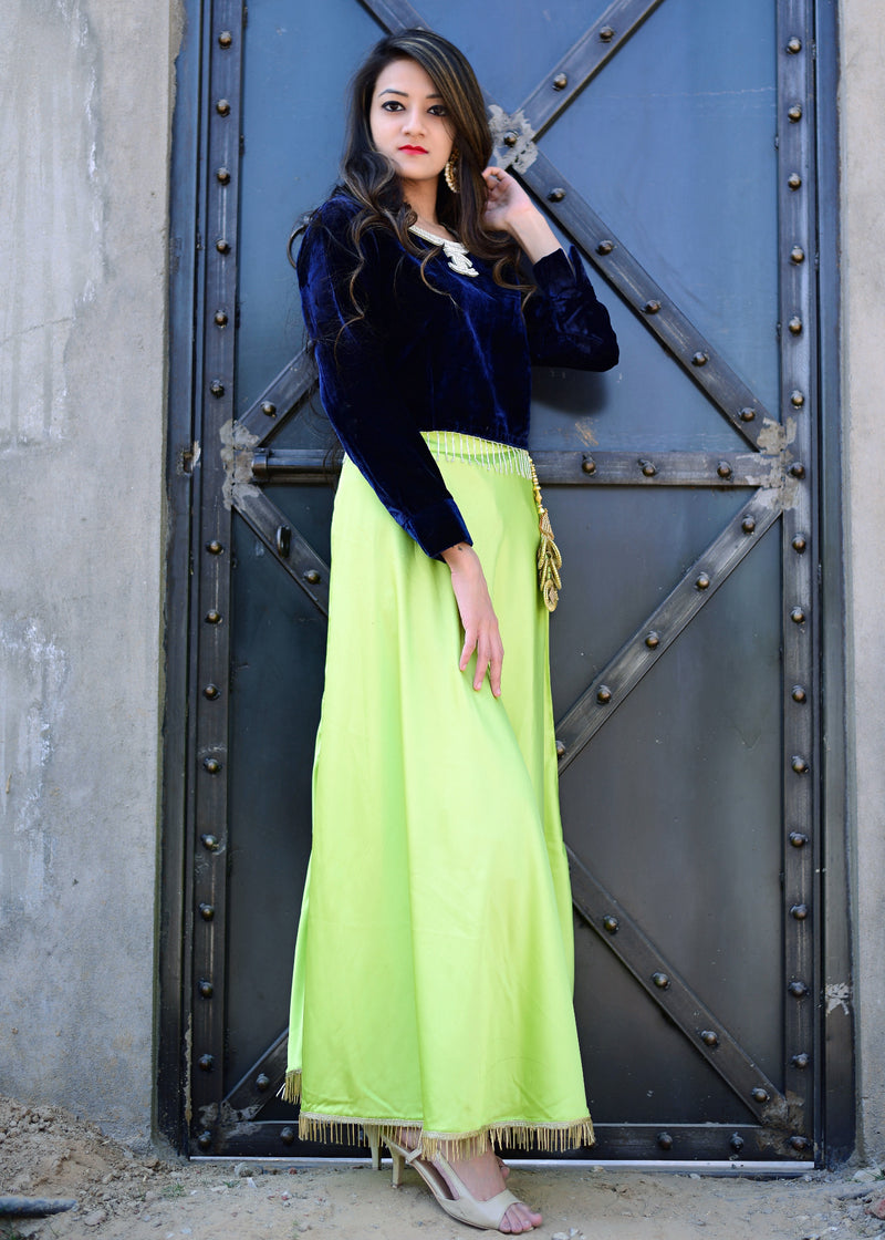 Blue velvet top and green skirt