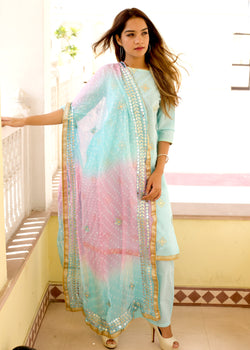 Exclusive turquoisesuit set with shaded dupatta