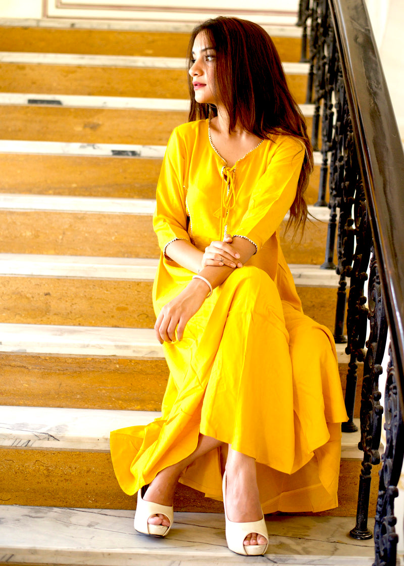 Yellow long kurti with bijiya gotta