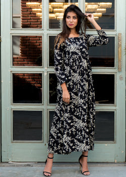 Black print maxi dress - Thread & Button