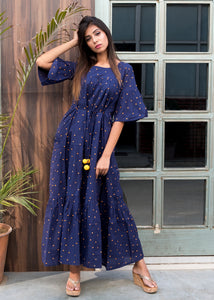 Blue polka dot maxi dress - Thread & Button