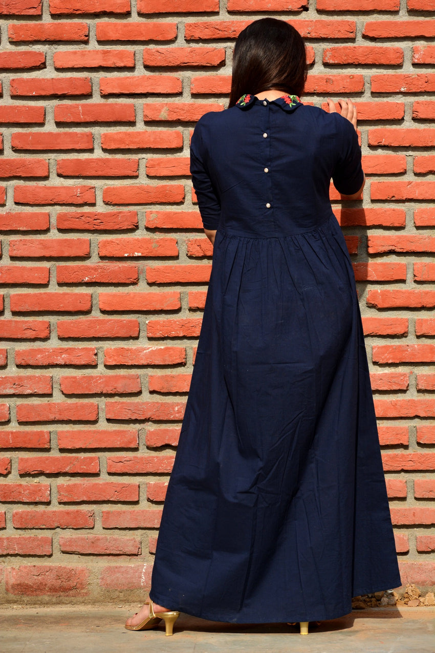 Navy blue maxi dress with embroidery - Thread & Button