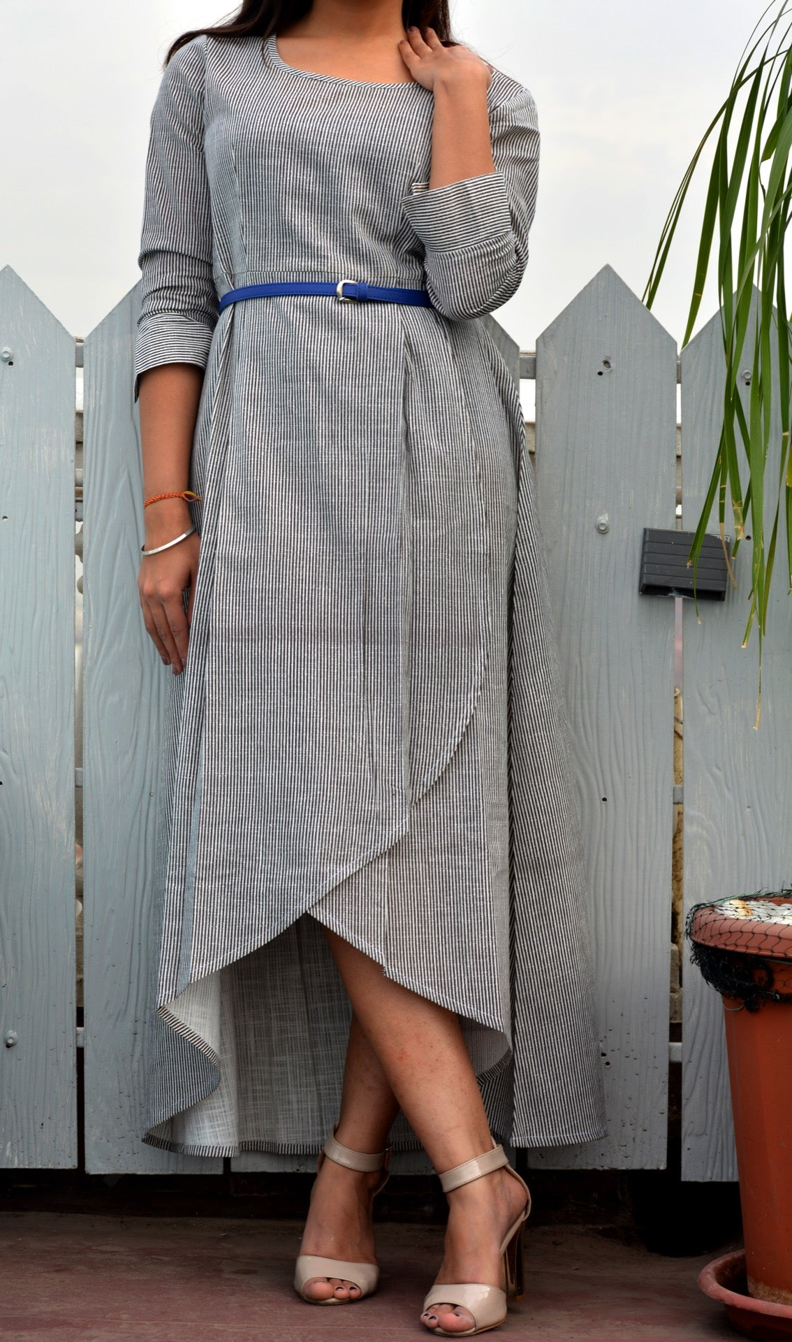 White black striped maxi dress - Thread & Button