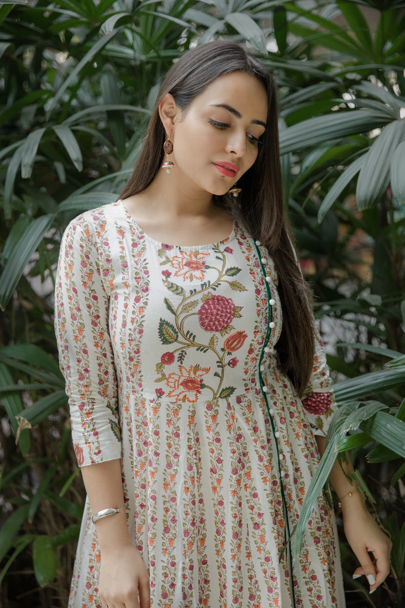 Floral Pink Cotton Kurta Set