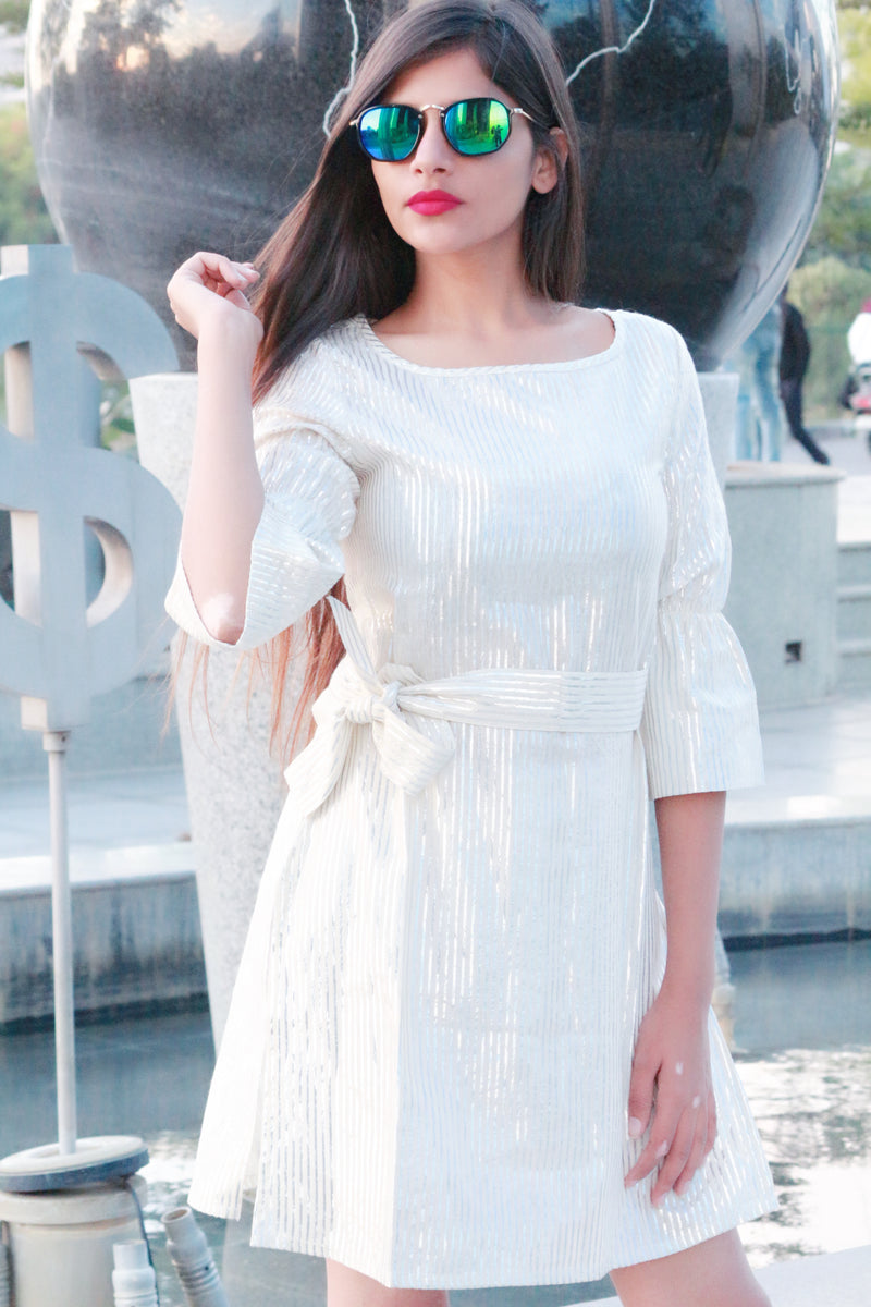 Modern silver stripped sleeves dress - Thread & Button