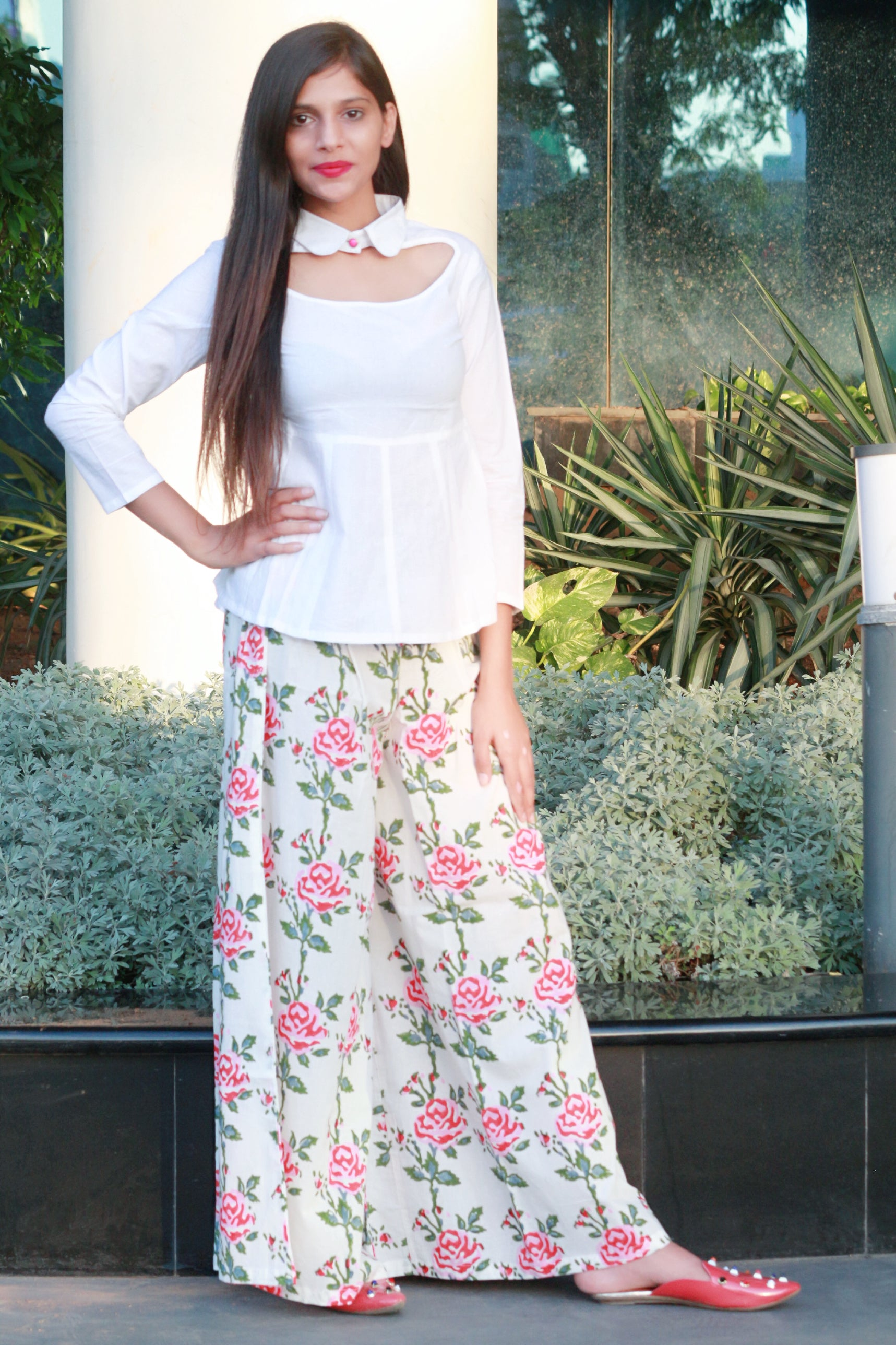 White top with floral print palazzo - Thread & Button