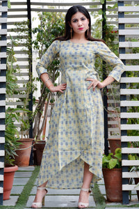 Green Blue block maxi dress - Thread & Button