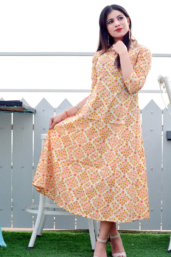 Exclusive gown with floral print - Thread & Button