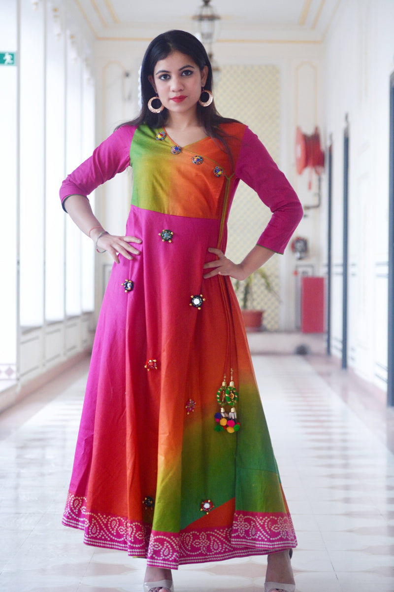 Multicoloured Angrkha Dress - Thread & Button