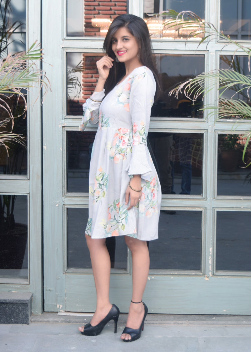 Grey Floral Short Dress with bell sleeves - Thread & Button