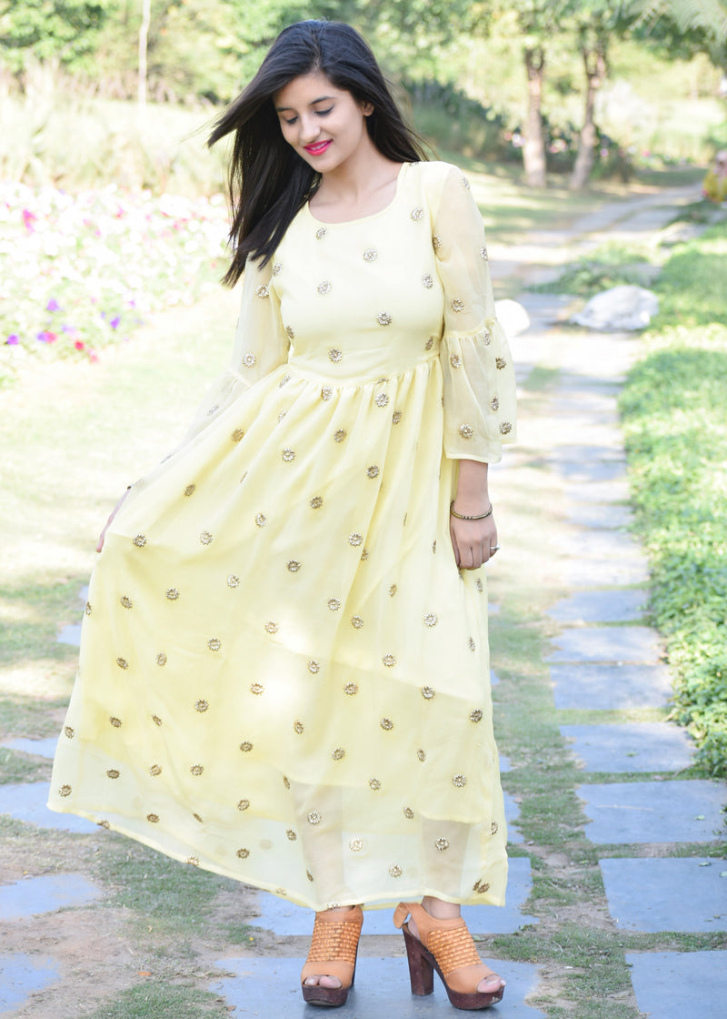 Exclusive lime yellow gown - Thread & Button
