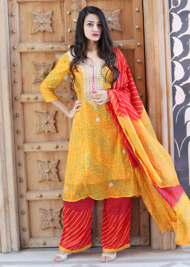 Yellow bandhej suit with gotta patti work - Thread & Button