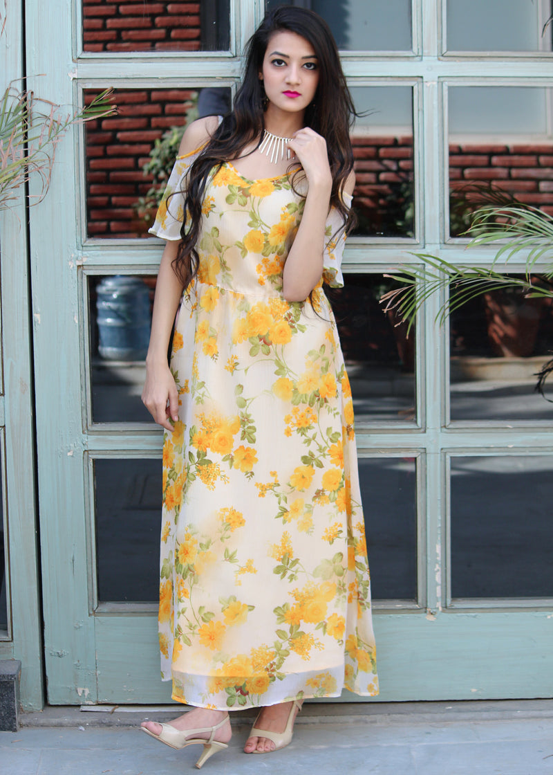 Yellow floral maxi dress - Thread & Button