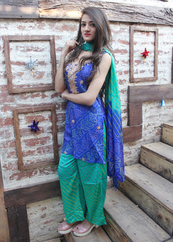 Blue & Green bandhej suit set - Thread & Button