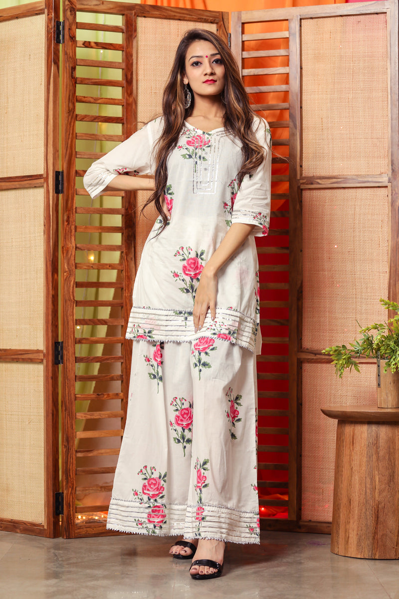 Poppy Pink Floral Suit Set