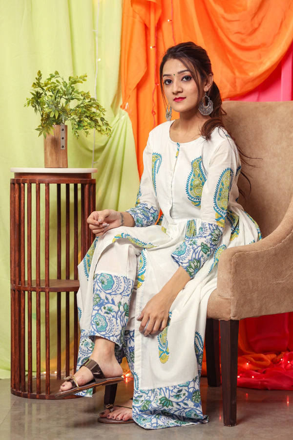 White Base Green kurta Set