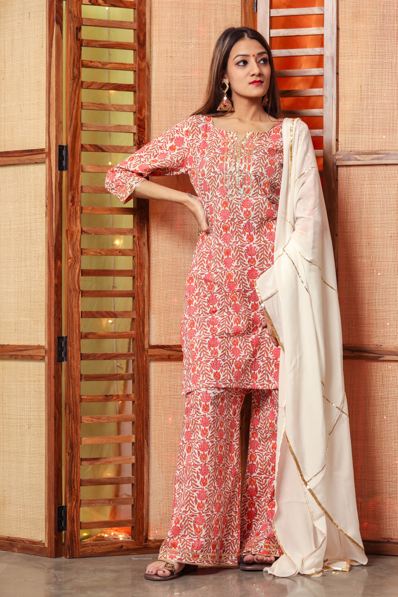 Melon Orange Floral Suit Set