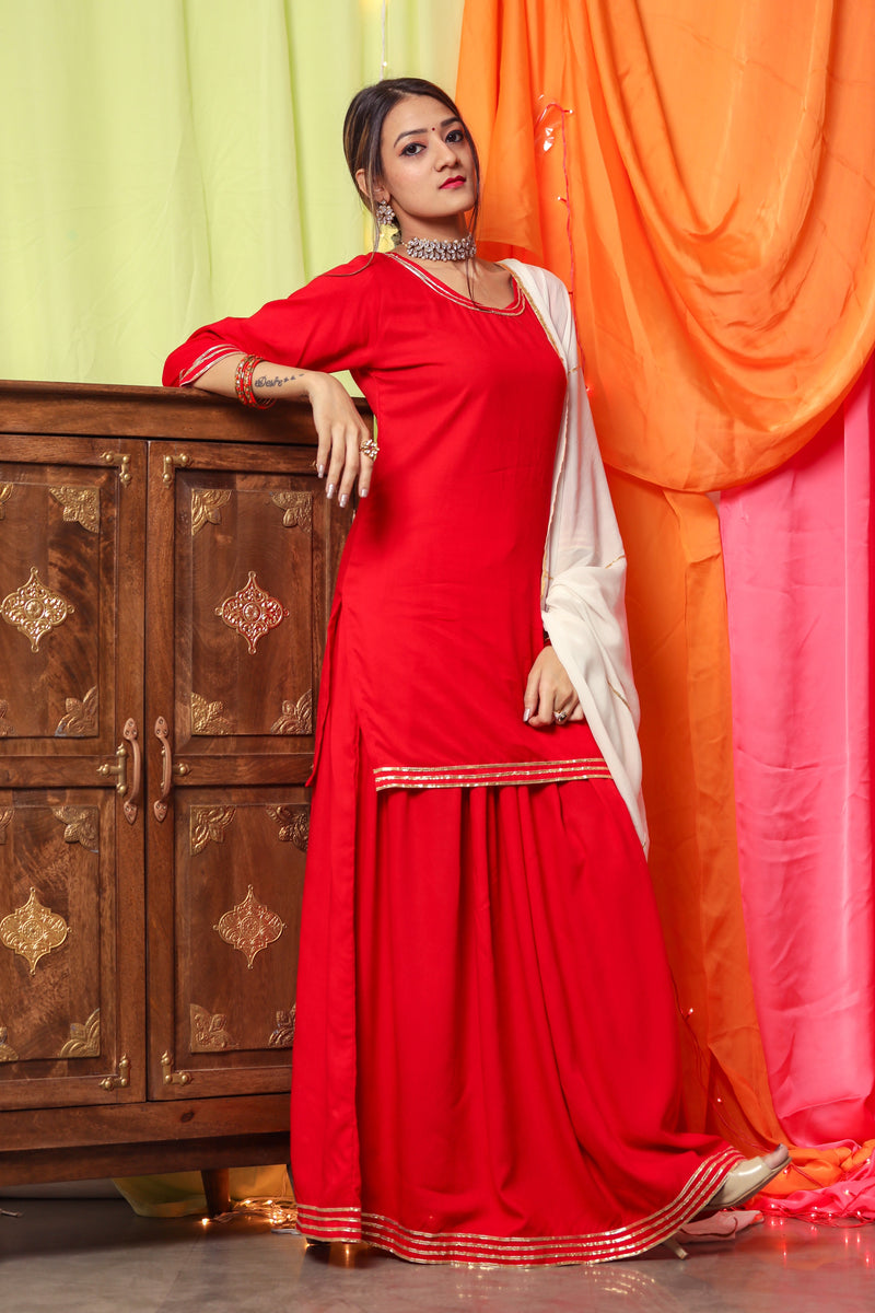 Hot Red Gotta Dress With White Dupatta