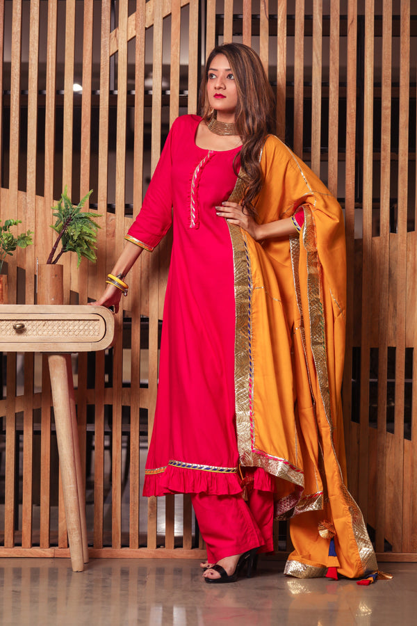 Ravishing Pink Gotta Suit Set With Yellow Dupatta