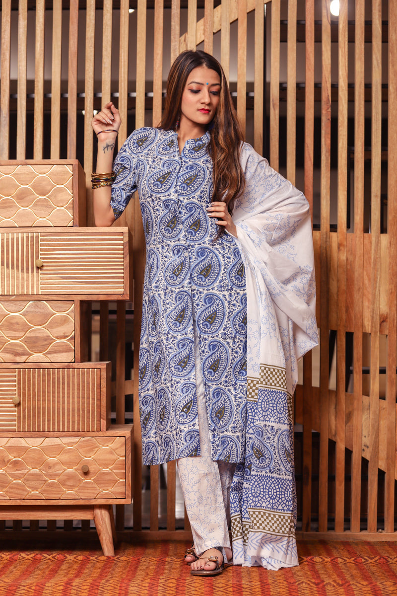 Daisy Blue Handblock Suit Set with Dupatta