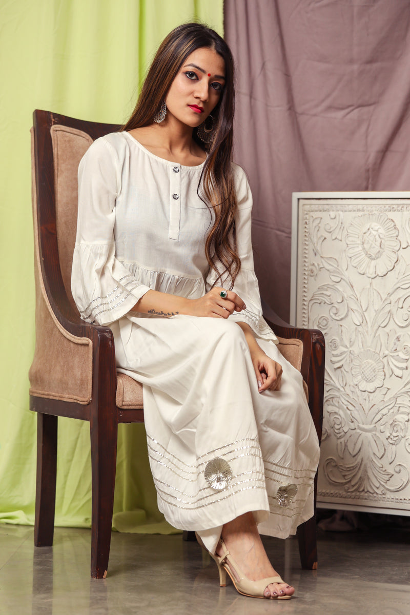 Silver White Gotta Suit With Floral Dupatta