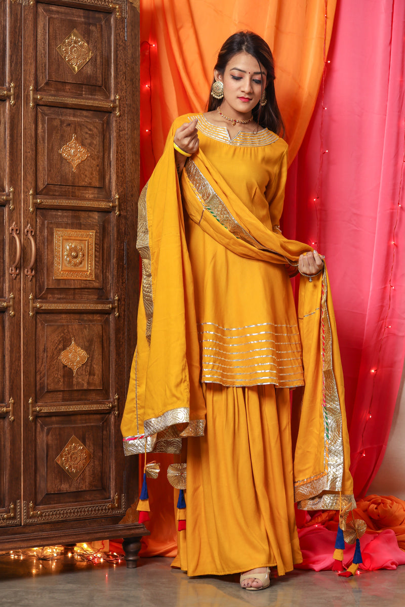 Bright Yellow Gotta Work Suit Set With Yellow Dupatta